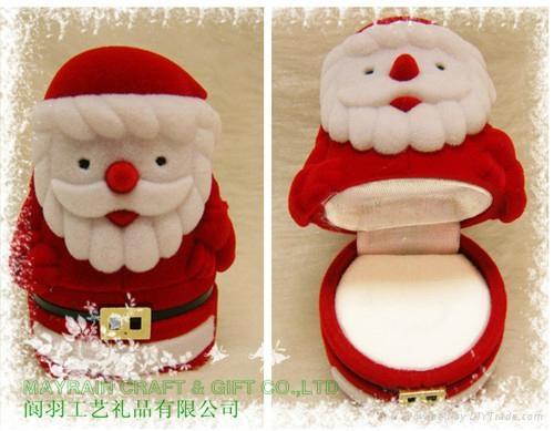 圣诞老人植绒首饰品耳环情侣对戒指盒 1