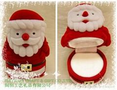 圣诞老人植绒首饰品耳环情侣对戒指盒