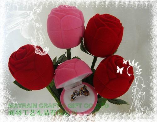 小朵玫瑰花植绒首饰耳环情侣对戒指盒 1