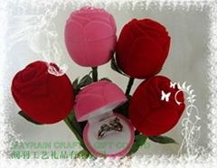 小朵玫瑰花植绒首饰耳环情侣对戒指盒