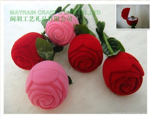 小朵玫瑰花植绒首饰耳环情侣对戒指盒 2