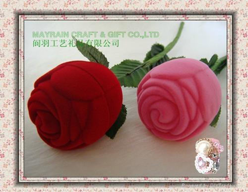 小朵玫瑰花植绒首饰耳环情侣对戒指盒 3