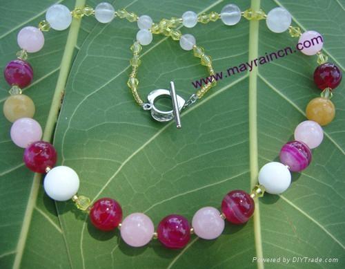天然女式宝石玫红玛瑙粉晶水晶贝壳珠金字塔形锁骨项链 1