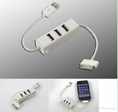 USB2.0 HUB with Iphone Ipod Ipad Charger Adapter