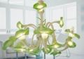 美式鄉村風格草綠色喇叭花玻璃吊 1