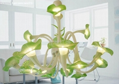 美式鄉村風格草綠色喇叭花玻璃吊