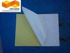 Self adhesive mirror coated paper
