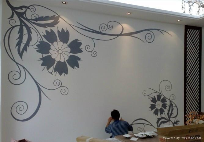 沙发背景墙手绘,餐厅背景墙手绘,卧室背景墙手绘与玄关背景墙手绘等