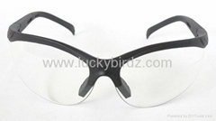Safety glasses with soft nose pad