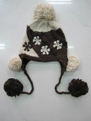 Earflap knitted hat