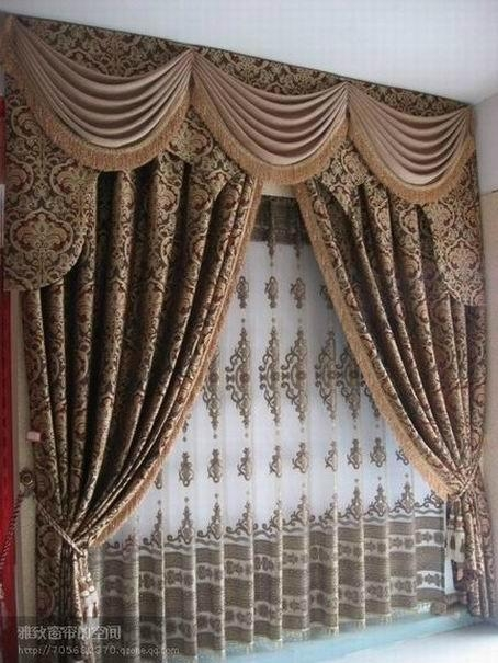 Plain Polyester Window Curtain with Attached Valance - Yazhi-001 ...