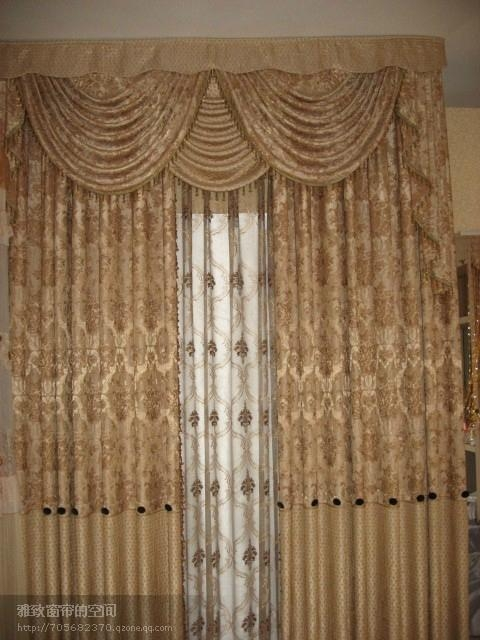 curtains with attached valance Plain Polyester Window Curtain with Attached Valance   Yazhi 001  curtains with attached valance