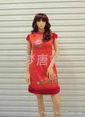 手繪牡花夾層棉冬季改良旗袍新娘禮服