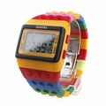 Multi-Color Block Brick Style Wrist Watch with LED Night Light