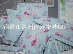 印花AB版床蓋式蕾絲邊全棉四件