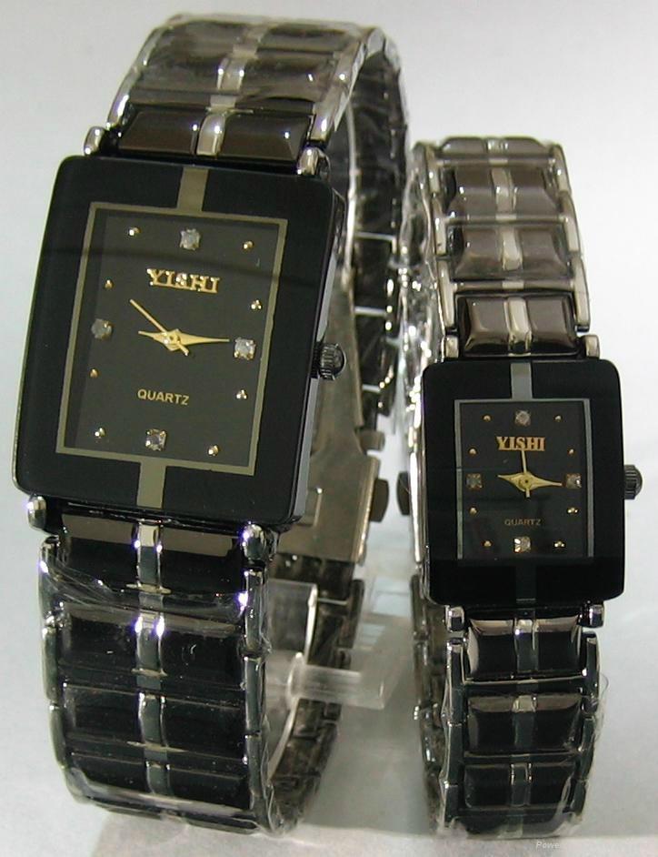 钨钢方形情侣手表 1