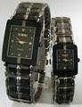钨钢方形情侣手表