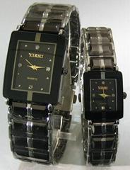 鎢鋼方形情侶手錶
