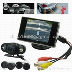 Wireless Car Rearview Camera + 4 Parking Sensor Car Parking Kits