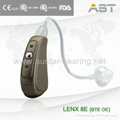 LENX 8E open fit sound amplifier with hearing aid tubes