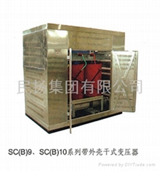 Dry type transformer with shell