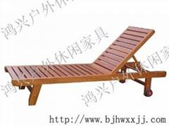 北京實木泳池躺椅