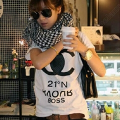 Womens Casual Letters Print Short Sleeve White Shirt Tops Blouse Tank Tshirt 067