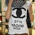 Womens Casual Letters Print Short Sleeve White Shirt Tops Blouse Tank Tshirt 067 2