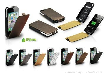 Leather Battery Case for iPhone 4/4S 2
