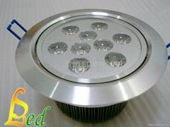 大功率LED 220V 9W 高光斜邊天花燈