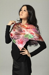 蚕丝喷花围巾
