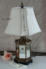 Antique Table Lamp Ancient City Coloured Glaze