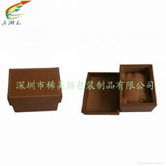 wooden leather wathch box