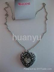 Women Fashion Alloy Jewelry Necklace Pendant Peach Hearts