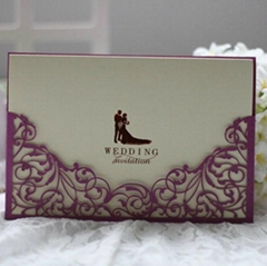Delicate Lacer Cut Wedding Invitation Card Stationery