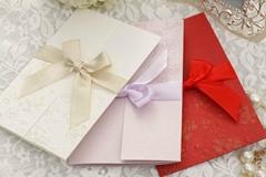 Elegant Folded Wedding Invitation With White Ribbon Bow Printable and Customizab