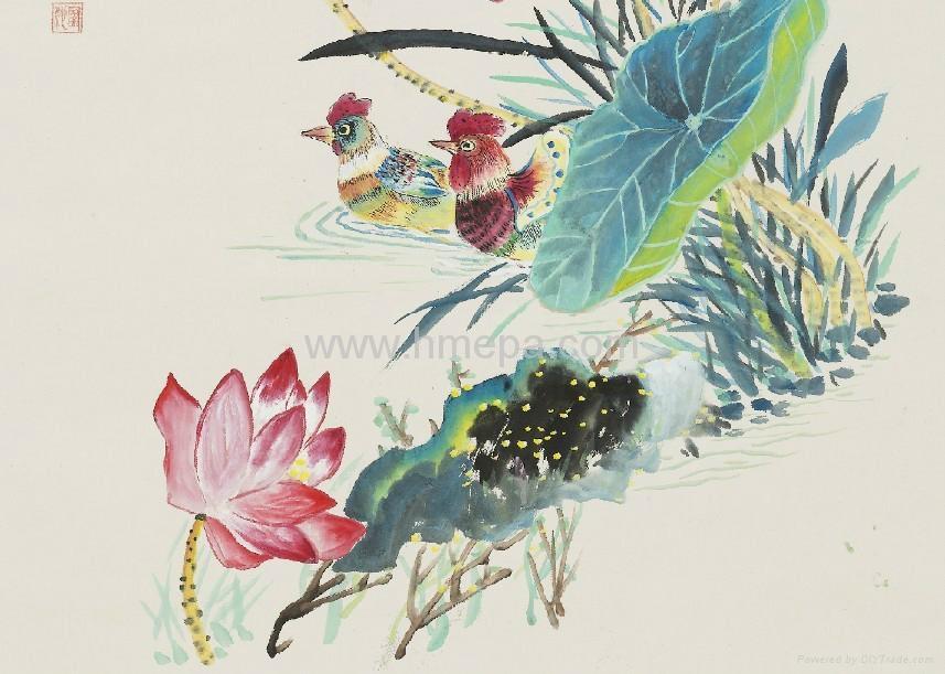 工具和材料有毛笔,墨,国画颜料,宣纸,绢等,题材可分人物,山水,花鸟等