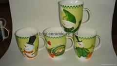 Calypso/Carnivale Shape promotion ceramic mug OEM logo printing