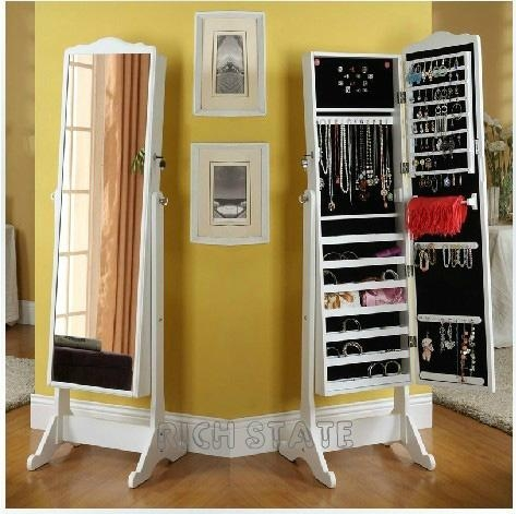 Wooden jewelry armoire with dressing mirror China Manufacturer