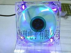 12025双层彩叶透明框带四灯散热风扇