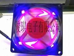 8025双层彩叶半透明框带四灯散热风扇