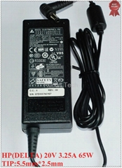 Wholesale-20V 3.25A 65W DELTA Laptop AC Adapter Original Authenticpower for