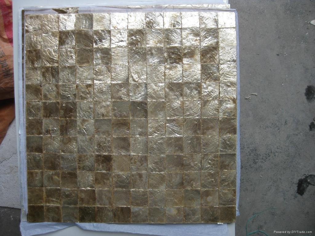 Natural Gold Capiz shell mosaic tiles for wall decoration - EMMY ...