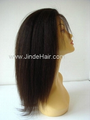 Relaxed texture Brazilian hair full lace wig