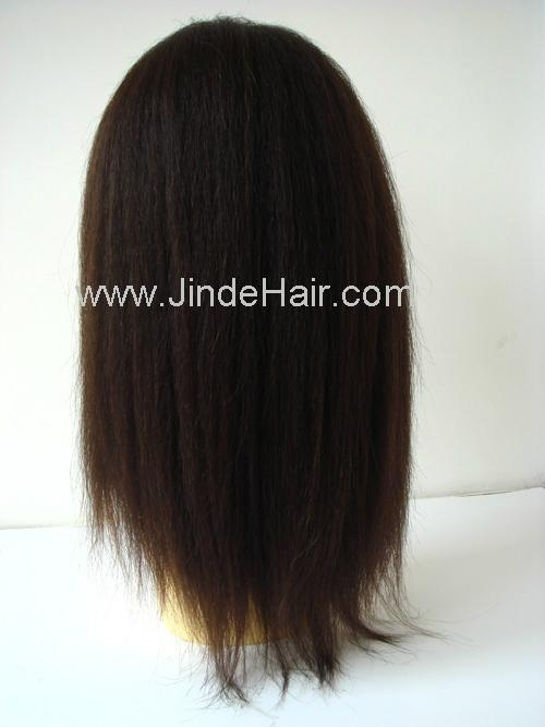 Relaxed texture Brazilian hair full lace wig 2