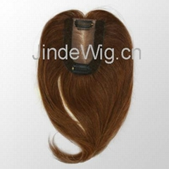 cheap custom made 100% Indian remy hair silk base clip on ladies toupee