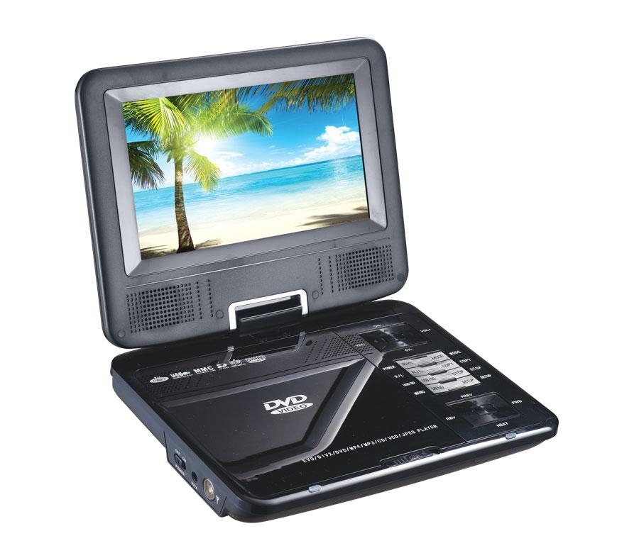 7 inch Portable DVD player with TFT LCD TV and card reader / USB port 1