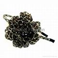 Leopard fabric flower headband
