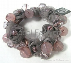Beads with fabric flower ponytail