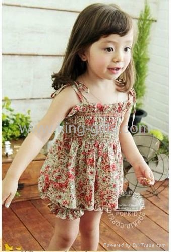 Children's Dresses girl dress little flower dress + short as a set Dec.finished 1